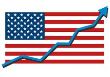 American USA flag with blue arrow graph going up showing strong economy in recovery and shares rise. Profit and success. Isolated vector illustration Royalty Free Stock Photo