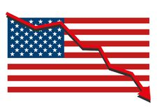 American USA flag with red arrow graph going down showing economy recession and shares fall. Isolated vector illustration Stock Images