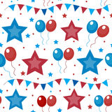 American USA flag seamless patterns. Independence Day, July 4 concept, repeating texture, endless background. Vector Royalty Free Stock Images