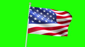 American USA flag waving, stars and stripes, united states of america flag waving, seamless looping 3D rendering stock footage