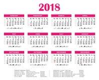 2018 american calendar. Pink design. 2018 american vector calendar. Pink design Stock Photo