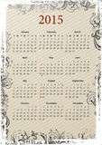 American Vector grungy calendar 2015 Stock Photo