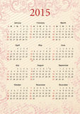 American Vector pink calendar 2015. American Vector pink floral calendar 2015, starting from Sundays Stock Images
