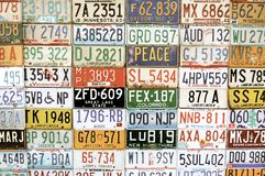 American vehicle number plates. Background of American motor car number plates from different states stock photography