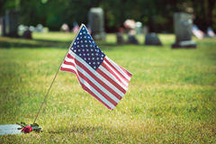 American veteran flag in the cemetery Royalty Free Stock Image