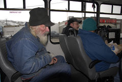 AMERICAN VETERAN RIDING COMMUNITY BUS Stock Photography