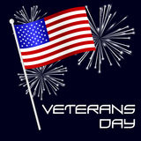 American veterans day celebration with flag and fireworks eps10 Stock Image