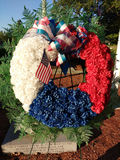 American Veterans Remembered, Memorial Wreath, USA. A patriotic memorial wreath placed near the eternal flame dedicated to all Rutherford veterans of war. This stock photos