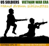 American Vietnam War soldiers circa 1960`s. Silhouette of American soldier, Circa late 1960`s in Vietnam or jungle warfare scenario. M-60 heavy machine gun and stock illustration