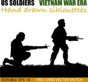 American Vietnam War soldiers circa 1960`s. Silhouette of American soldier, Circa late 1960`s in Vietnam or jungle warfare scenario. M-60 heavy machine gun and royalty free illustration