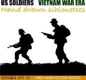 American Vietnam War soldiers circa 1960`s. Silhouette of American soldiers, Circa late 1960`s in Vietnam or jungle warfare scenario. Artist illustration vector illustration