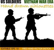 American Vietnam War soldiers circa 1960`s. Silhouette of American soldiers, Circa late 1960`s in Vietnam or jungle warfare scenario. Artist illustration royalty free illustration