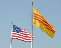 American and Vietnamese flags Stock Images