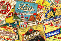 American Vintage Beer Labels. STUTTGART, GERMANY - September 24, 2015: Collection of American vintage beer labels from the 1930s Royalty Free Stock Photography