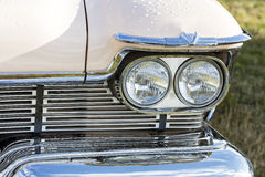 American vintage car, close-up of front detail Royalty Free Stock Images