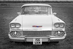 American vintage chevrolet. Photo of a vintage chevrolet front headlamps and grille detail showing at the whitstable vintage car show on 31st august 2014.photo Stock Photography
