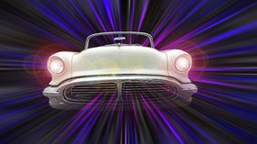 Free American Vintage Classic Car Space Travel Time Tunnel Warp Speed Spaceship Star Trek Zoom Light Stars Galaxy Royalty Free Stock Image - 154871276