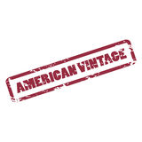 American Vintage inscription in deep red frame. Rubber stamp. Stock Image