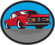 American Vintage Muscle Car Rear Woodcut Royalty Free Stock Photo
