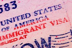 American visa. In the passport Royalty Free Stock Photography