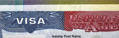 American Visa closeup. Stock Photography