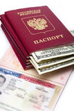 American visa on page of the Russian international passport and US dollars Stock Photography