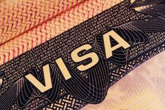 American visa on a passport. Close-up stock photography