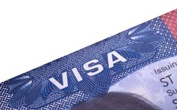 American Visa in the passport. Close up royalty free stock photo