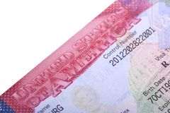 American Visa in the passport. Close up stock photo