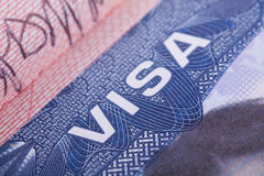 American Visa in the passport. Close up stock photos