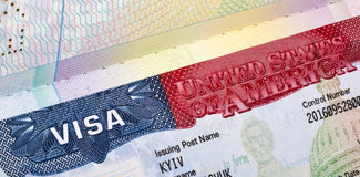 American Visa in the passport closeup. Royalty Free Stock Images