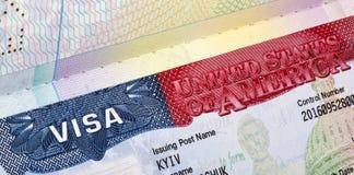 American Visa in the passport closeup. American Visa in the passport closeup issued in Kiev, Ukraine royalty free stock images