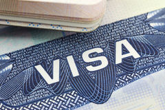 The American Visa in a passport page (USA) Royalty Free Stock Photography