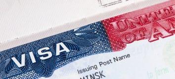 Travel American visa in passport. Close-up. USA multi entrance visa in passport royalty free stock photos