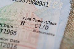 American visa type. Macro of american visa type on passport page royalty free stock photography