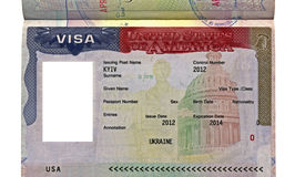 American visa for ukrainian citizen with empty photo area in passport, usa travel,. American visa for ukrainian citizen with empty photo area in passport, usa royalty free stock images