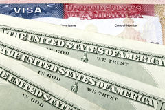 American visa and US dollars Stock Photo