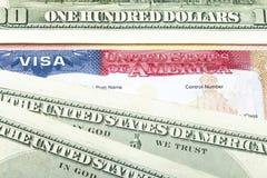 American visa and US dollars. The American visa and US dollars royalty free stock images