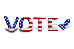 American Vote. The word Vote in 3D in the American flag colors the a check mark Royalty Free Stock Images