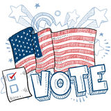 American Vote in Election sketch. Doodle style vote in the election with american flag and check box illustration in vector format Royalty Free Stock Photography