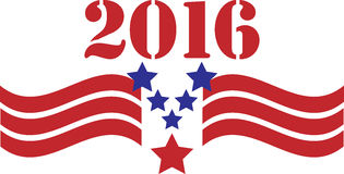 2016 American Vote Graphic. 2016 in red, white and blue with stars and stripes for election year Stock Images