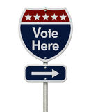 American Vote Here Highway Road Sign Stock Photos