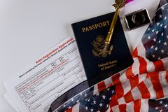 American vote registration form for presidential election with flag of USA and passport