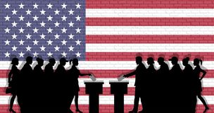 American voters crowd silhouette in election with USA flag graffiti in front of brick wall stock illustration