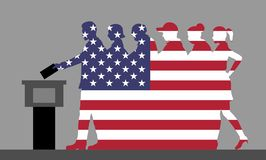 American voters crowd silhouette like USA flag by voting for election stock illustration