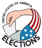 American Voters Hand with Flag in Election Event, Vector Illustration Royalty Free Stock Image