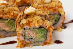 American warm crunch roll sushi. Stock Photography