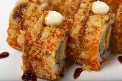 American warm crunch roll sushi. Royalty Free Stock Photos