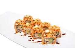 American warm crunch roll sushi. Stock Photos