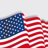 American waving Flag. Vector illustration. Stock Photography